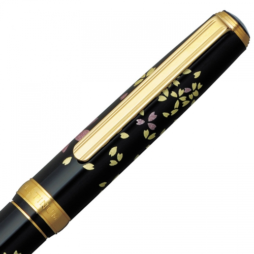 Platinum Vicoh Kanazawa Gold Leaf Swirling Petals <p>of Cherry Blossom<p> Fountain Pen with 18k Nib<p>PTL-15000H#52</p>